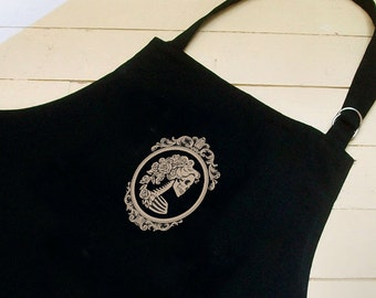 Apron Lady Skeleton Cameo- Full Length BBQ Chef Apron Skull- Day of the Dead-  Brooch print