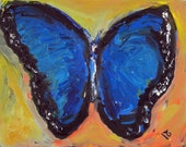 BLUE Butterfly Oil Painting on Canvas - ORIGINAL Abstract Butterfly Art - 14x11 Whimsical ART by Abbie Blackwell