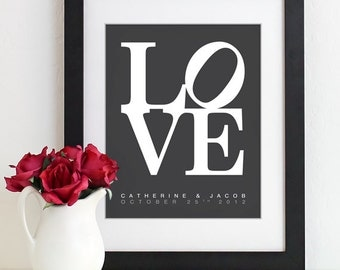 Personalized Anniversary Gift For Couples LOVE Art Print Typography Poster