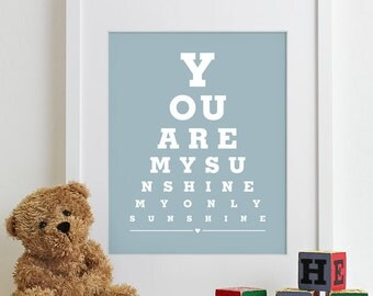 Baby Nursery Art Print Eye Chart - typography poster kids wall art decor nursery wall art boy girl baby gift - You Are My Sunshine 8x10