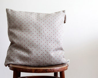 Decorative pillow cover - sham- pillows case - cushion - natural linen with red polka dots  0104