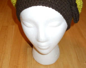 Light green and Dark Brown Slouchy Hat
