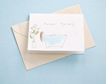 Pamper Yourself - Watercolor Greeting Card