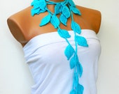 Handmade Crochet ivy, aqua turquoise ivy leafs Lariat Scarf. Fashion Flower Scarves, Necklace...