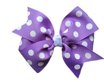 Light purple polka dot hair bow - light purple bow, 4 inch bows, girls hair bows, girls bows, purple hair bows, toddler bows, hair clips