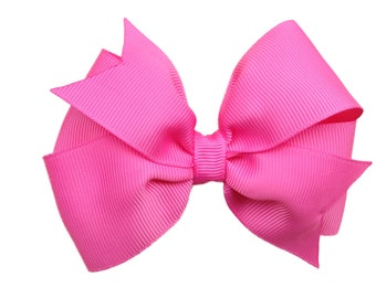 4 inch bright pink bow - pink hair bow, girls hair bows, 4 inch bows, pinwheel bows, girls bows, toddler bows, pink bows, hair clips