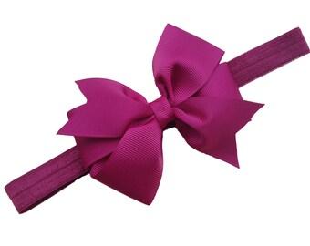 Burgundy baby headband- burgundy bow headband, dark red headband, maroon newborn headband, baby bow headband, baby girl headbands