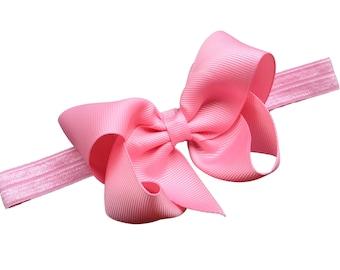 Pink bow headband - pink baby headband, pink newborn headband, baby bow headband, pink headband, baby girl headband