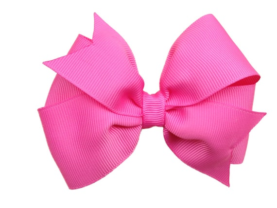 4 inch bright pink bow - pink hair bow