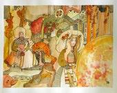 Storybook art - storybook drawing - fairytale illustration art - whimsical art - watercolor art - contemporary art - Phoenix Nesting Season