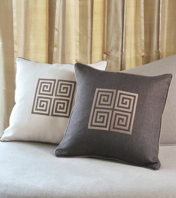 Greek Key Embroidered Pillow Covers By Letsdecorateonline