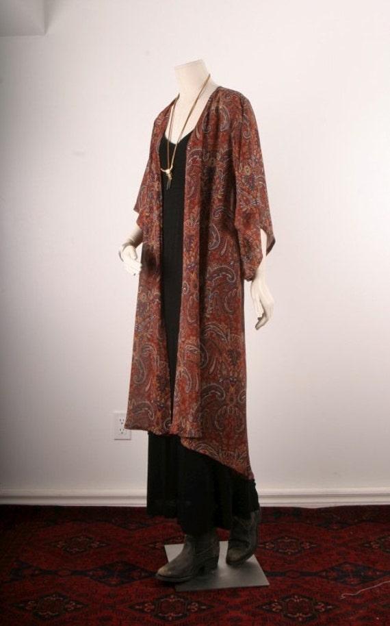 Handmade Kimono Jacket Duster Coat Robe Bohemian Gypsy Brown