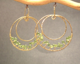 Hammered circles with peridot Bohemian 55