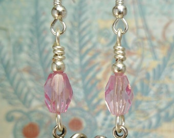 SALE! Pink & Silver Butterfly Earrings