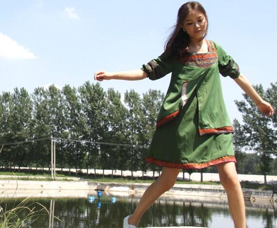 cotton maxi dress chinese style dress  patchwork dress linen dress blue  dress white dress green dress cotton dress