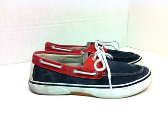 Men's Nautical Boat Shoes 8.5 - Sperry Top Sider Deck Shoes 8.5 - Red Navy White