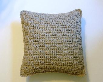 Crochet Throw Pillow Basket Weave Beige Neutral Handmade LittlestSister