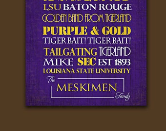 LSU Tigers:Print or Canvas housewarming gift for couple. Graduation Gift