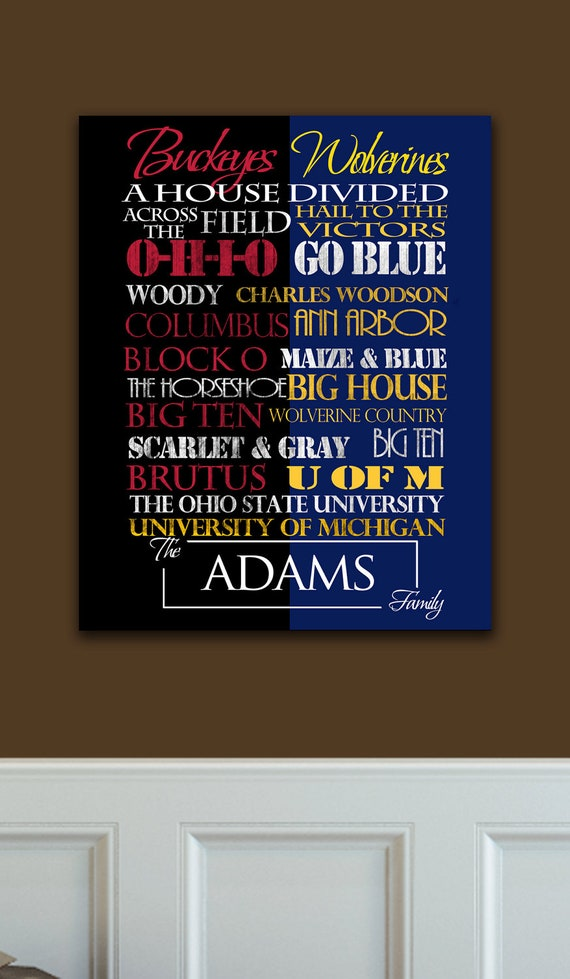 Buckeyes/Wolverines House Divided Print or Canvas