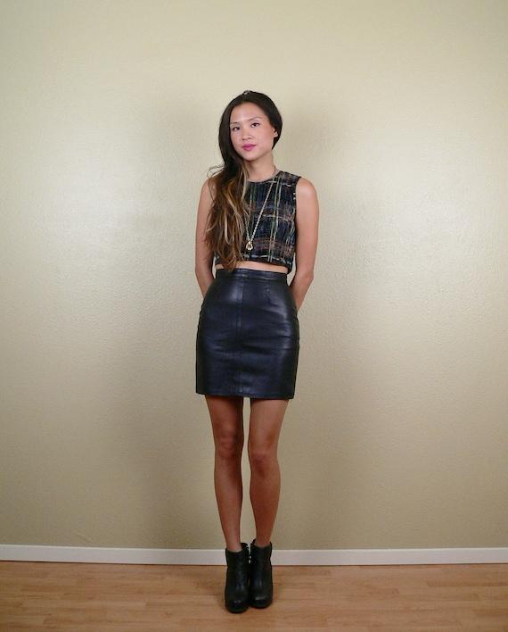 high waisted black leather pencil mini skirt small