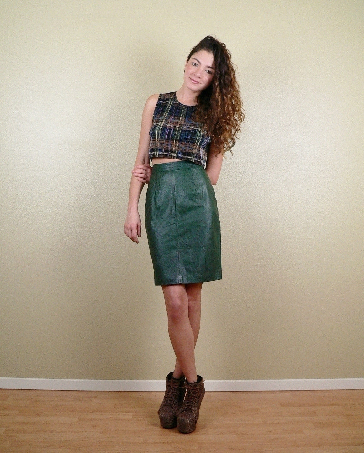 green leather high waisted pencil skirt xs