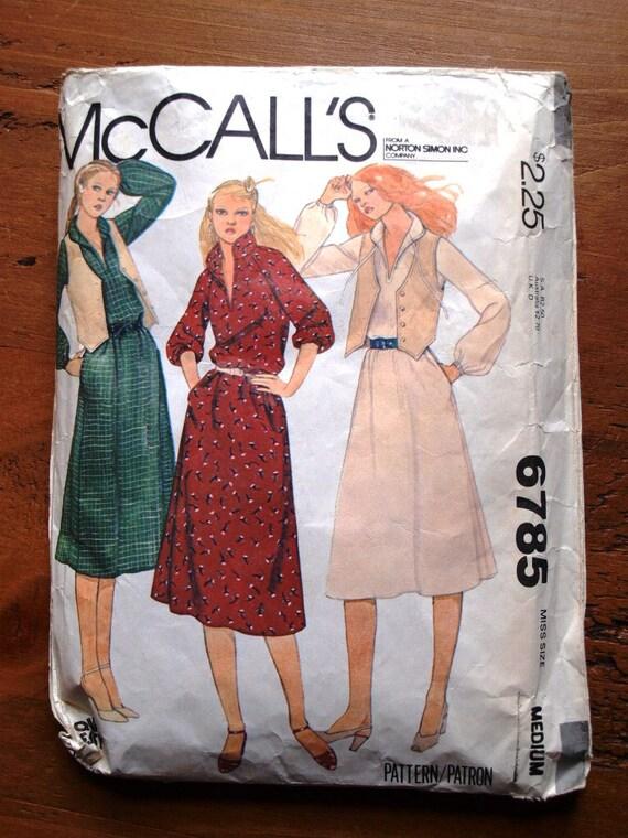 "1970's Misses dress and vest. Vintage sewing pattern. McCalls 6785. Bust 36"" 38"" Medium."