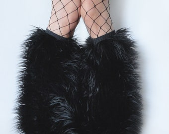 MADE TO ORDER BLacK Fluffy Leg Warmers rave Fluffies monster fur furry bootcovers fuzzy boots black boots faux fur halloween costume