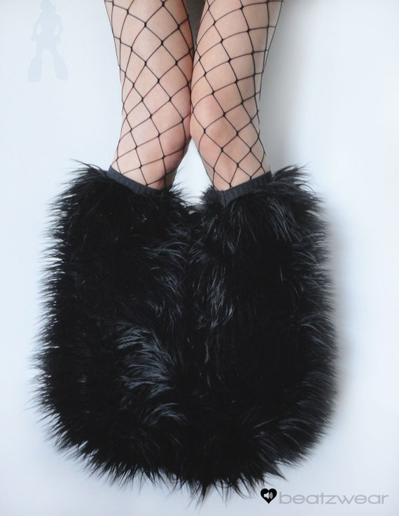 MADE TO ORDER BLacK extra wide flare Fluffy Leg Warmers Fluffies monster fur furry bootcovers fuzzy boots gogo rave fluffies