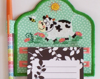 Happy Cow Magnetic Embroidered Notepad Holder