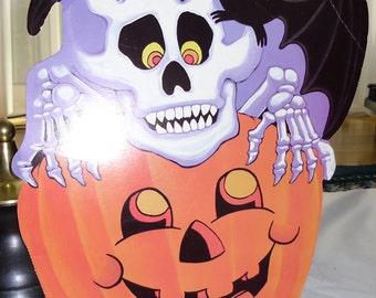 Vintage Halloween Decoration Bat, Skeleton, Pumpkin Die Cut by Eureka USA