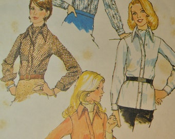 Shirt and Ascot Tie Misses Size 16 Bust 38 Uncut Vintage 1970s Sewing Pattern Simplicity 5802