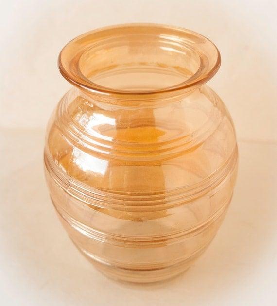 Vintage Peach Lusterware Glass Vase Marigold