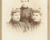 Antique Photograph of 3 Sisters Cabinet Photograph