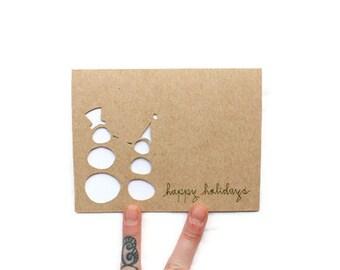 Snowmen card: Laser Cut Snowmen - Happy Holidays, Season's Greetings