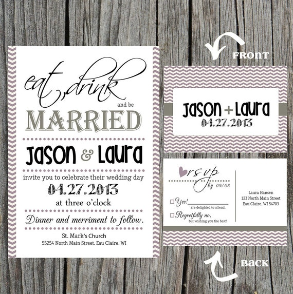 eat drink and be married wedding invitations etsy, Wedding invitations