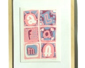 Original Alfama print (Lisbon, Portugal); Limited edition of hand pulled screen print in pink and blue. Typography Art;