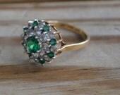 Fabulous art deco victorian revival diamond and emerald paste cocktail ring in 10k karat gold retro / flapper / rhinestone / england