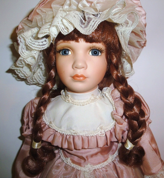 "Vintage Porcelain Doll - 18"" William Tung - Tuss Inc - Collectibles - Little House on the Prairie - Blue Eyes - Cottage Decor"