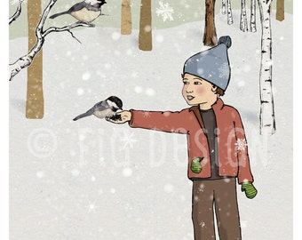 Winter Chickadees, a boy feeds birds in the forest, Giclée fine art print, 8x10, wall art, decor, gift
