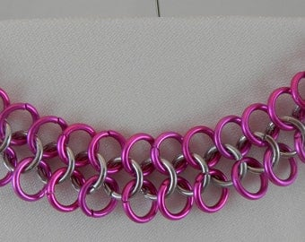Pink and Silver Chainmaile Bracelet
