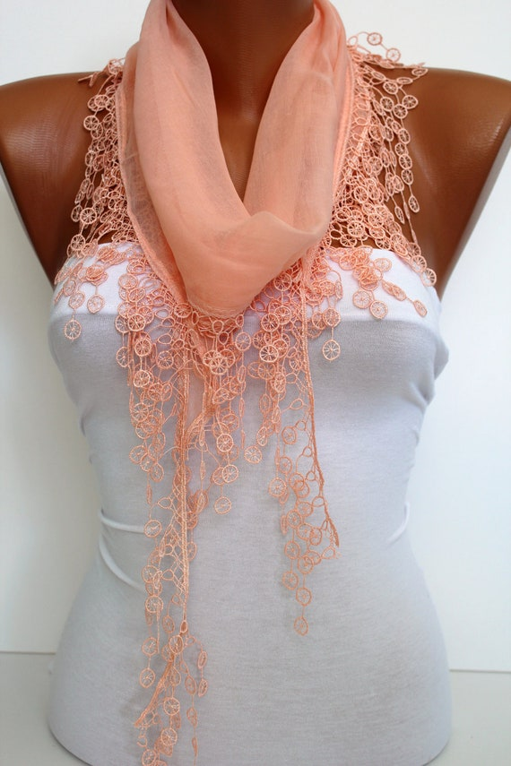 Salmon Cotton Scarf Shawl-Headband Cowl with Lace Edge