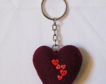 dark red sock heart keyring