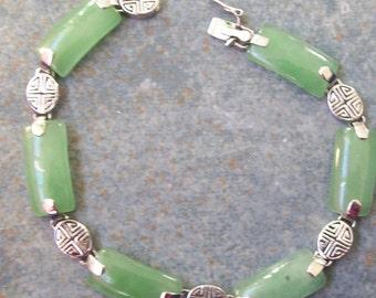 Vintage Bracelet Green Aventurine and Sterling