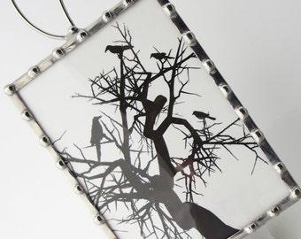 Night Light Crows - Nightlight Birds Crows in a Tree - Kids Night Light - Glass Night Light - Black White Silhouette N36