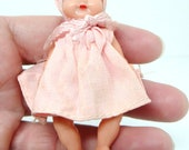 Vintage Girl Doll with sleeping eyes, plastic, 1950s, made in Italy