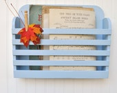 Rustic Hanging Magazine File Holder Pale Powder Blue Vintage Design Storage Organizer Shabby Periwinkle Pastel Solid Color Baby Blue