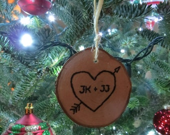 Valentine's Day Love Themed Hand-Burned Wooden Ornaments