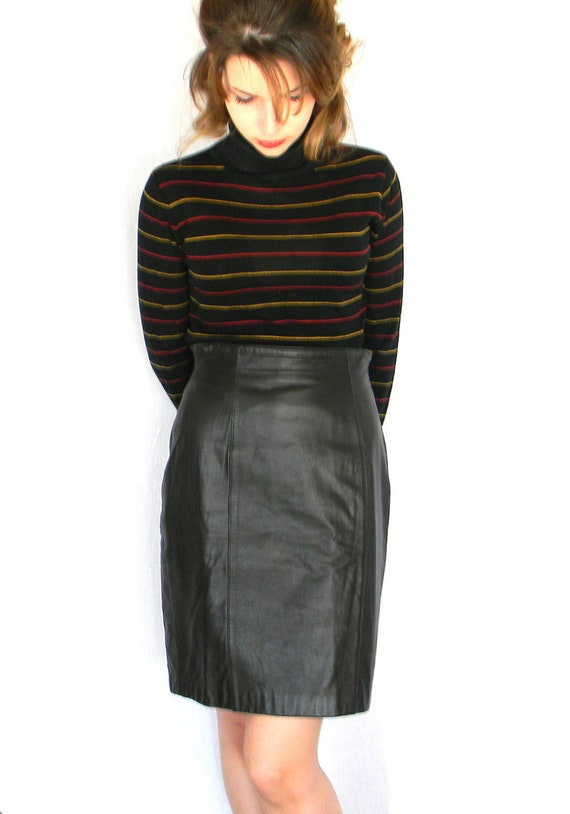 Black Leather Skirt . 80s Valerie Stevens High Waist Straight