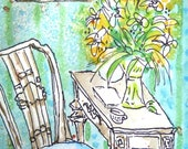 "ORIGINAL WATERCOLOR, A Writer's Life, desk, table, chair, portrait, approx. 3 7/8"" x 6"""
