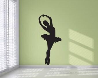 Five Foot Tall Ballet Dancer Silhouette Removable Vinyl Wall Art Decoration, ballet decor ballerina wall sticker dance studio wall art